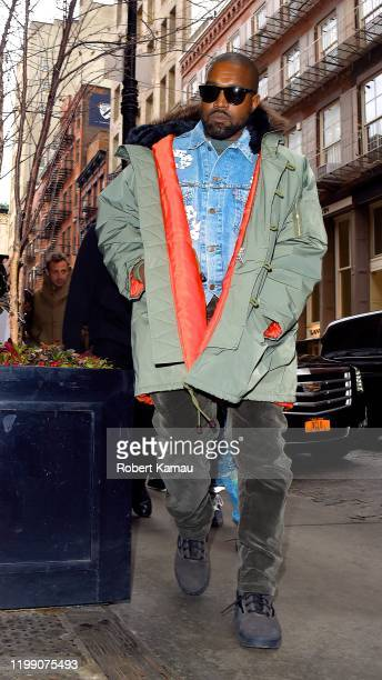 Kanye West seen out and about in Manhattan on February 5, 2020 in New York City.