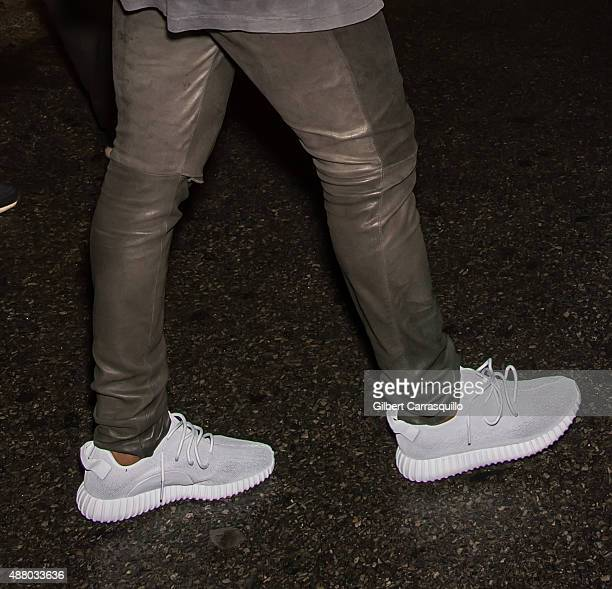 Kanye West shoe detail is seen leaving Alexander Wang Spring 2016 fashion show afterparty during New York Fashion Week at Pier 94 on September 12...