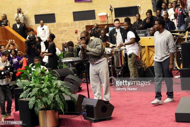 Kanye West speaks during Sunday Service at The Greater Allen AME Cathedral of New York on September 29 2019 in New York City