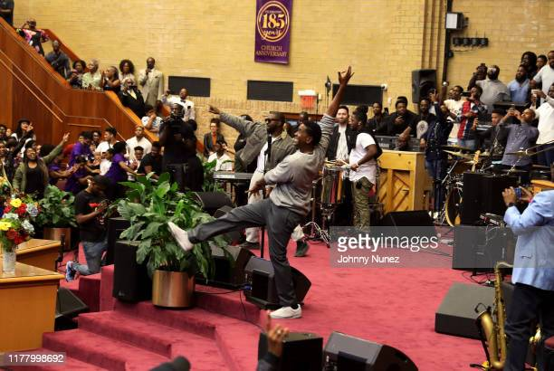 Kanye West speaks during Sunday Service at The Greater Allen A.M.E. Cathedral of New York on September 29, 2019 in New York City.
