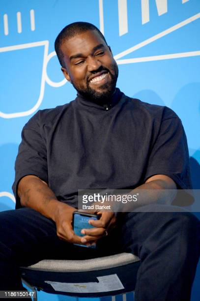 Kanye West speaks on stage at the Kanye West and Steven Smith in Conversation with Mark Wilson at the on November 07 2019 in New York City