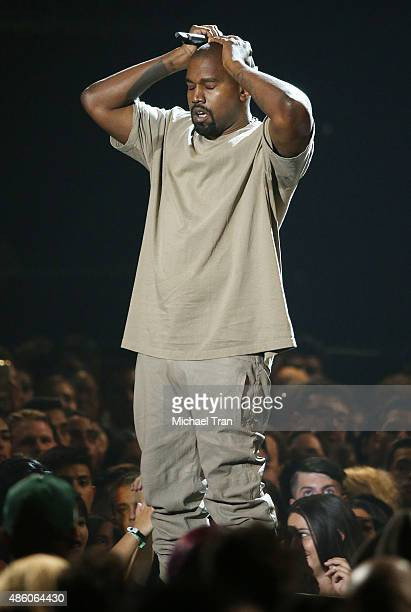 Kanye West speaks onstage during the 2015 MTV Video Music Awards held at Microsoft Theater on August 30 2015 in Los Angeles California