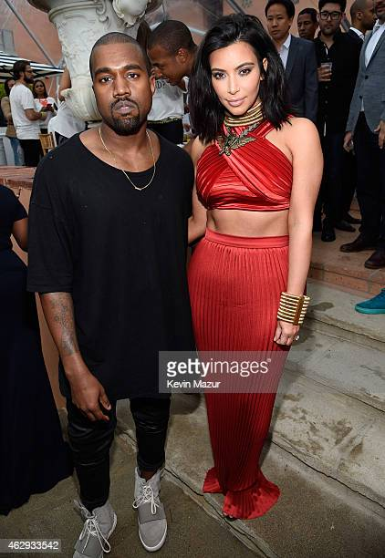 Kanye West speculated to be wearing the Yeezy 3 sneakers 'Yeezy 750 Boost' and Kim Kardashian attend the Roc Nation and Three Six Zero PreGRAMMY...