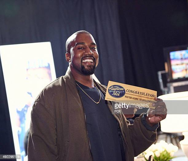 Kanye West surprises the Judges and Ryan Seacrest on American Idol by auditioning in San Francisco Pictured Kanye West shows off his golden ticket...