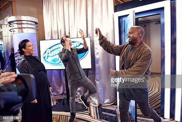 Kanye West surprises the Judges and Ryan Seacrest on American Idol by auditioning in San Francisco Pictured Kim Kardashian Ryan Seacrest and Kanye...