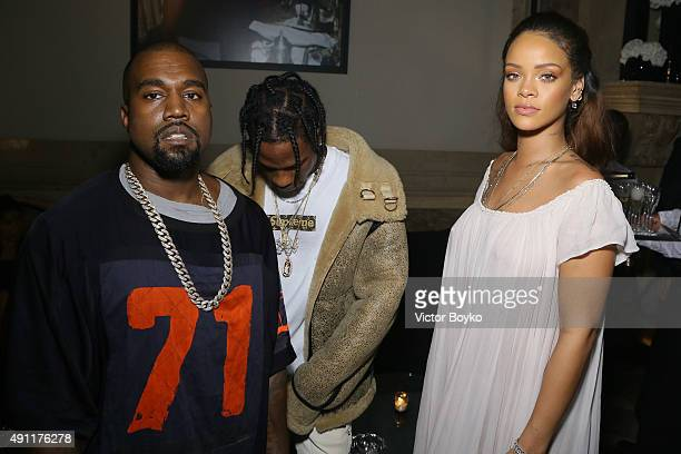 Kanye West Travis Scott and Rihanna attend Vogue 95th Anniversary Party on October 3 2015 in Paris France