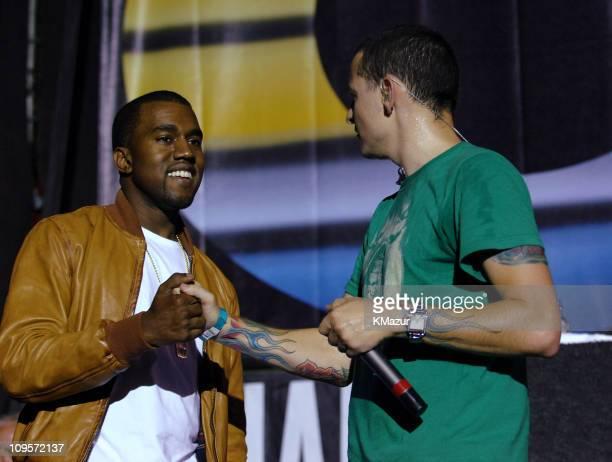 Kanye West with Chester Bennington of Linkin Park during LIVE 8 Philadelphia Rehearsals at Philadelphia Museum of Art in Philadelphia Pennsylvania...
