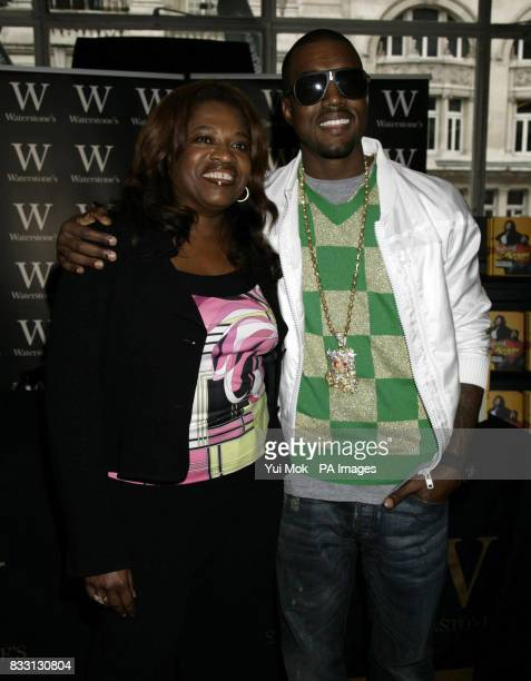 Kanye West with his mother Donda at a signing for her book 'Raising Kanye' at Waterstone's in Piccadilly central London