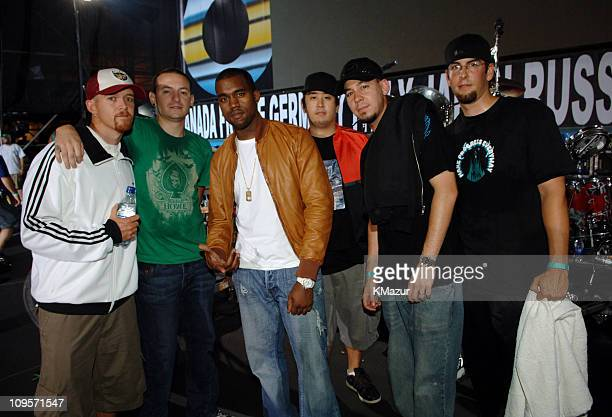 Kanye West with Phoenix Farrell Chester Bennington Joe Hahn Mike Shinoda and Rob Bourbon of Linkin Park