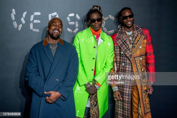 Kanye West Young Thug and 2 Chainz attend the the Versace fall 2019 fashion show at the American Stock Exchange Building in lower Manhattan on...