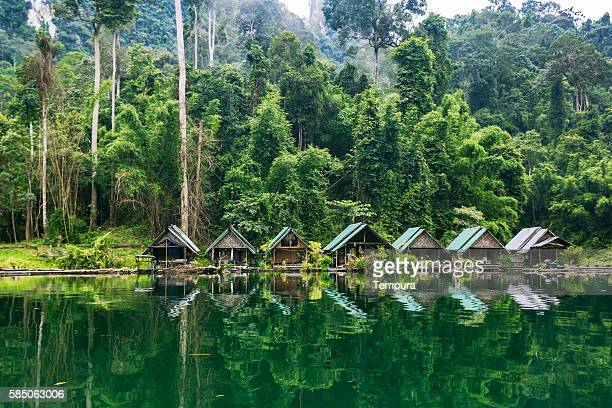 kao sok national park lake and villagers sheds. - thailand stock-fotos und bilder