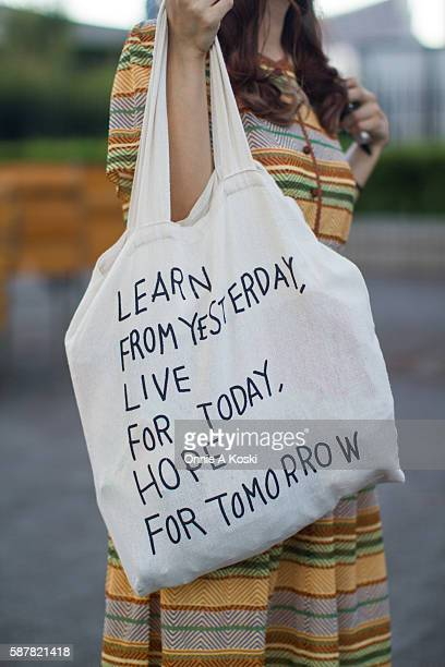 Kao Wan Jung and Tseeng Tz Ting are seen in Yoyogi on August 07 2016 in Tokyo They are waering dresses bought at a Tawainese Flea market Kao is...