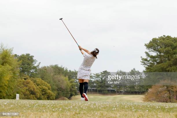 Kaori Aoyama of Japan hits a tee shot on the 9th hole during the final round of the Hanasaka Ladies Yanmar Golf Tournament at Biwako Country Club on...