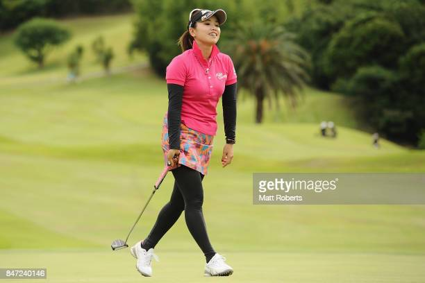 Kaori Aoyama of Japan reacts after her putt on the 18th green during the first round of the Munsingwear Ladies Tokai Classic 2017 at the Shin Minami...