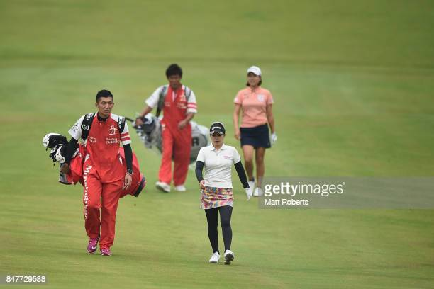 Kaori Aoyama of Japan walks the 2nd fairway during the second round of the Munsingwear Ladies Tokai Classic 2017 at the Shin Minami Aichi Country...