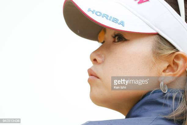 Kaori Aoyama of Japan watches on the 18th green during the final round of the Hanasaka Ladies Yanmar Golf Tournament at Biwako Country Club on April...