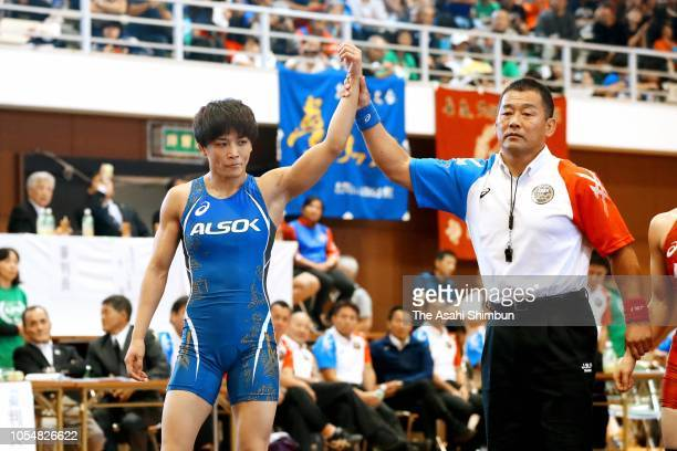 Kaori Icho celebrates winning the 57kg final against Fusano Mochizuki during the Wrestling All Japan Women's Open Championship at Mishima City...