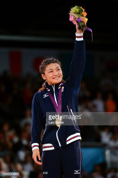 Kaori Icho of Japan celebrates winning the gold medal in the Women's Freestyle 63 kg Wrestling on Day 12 of the London 2012 Olympic Games at ExCeL on...