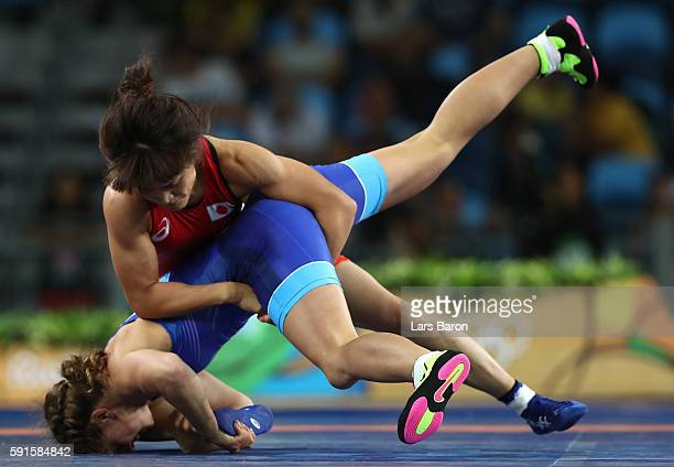 Kaori Icho of Japan competes against Valeriia Koblova Zholobova of Russia during the Women's Freestyle 58 kg Gold Medal match on Day 12 of the Rio...