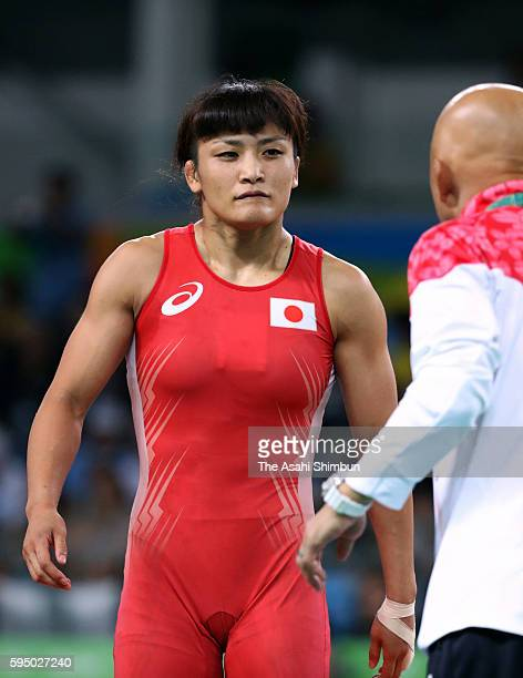 Kaori Icho of Japan prepares to compete against Marwa Amri of Tunisia compete in the Women's 58kg second round on Day 12 of the Rio 2016 Olympic...