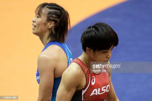 Kaori Icho reacts after competing against Risako Kawai in the Women's 57kg playoff match during the Wrestling World Championships Japan Playoffs at...