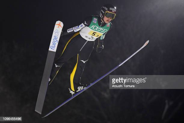 Kaori Iwabuchi of Japan competes during day two of the FIS Ski Jumping World Cup Ladies Zao at Kuraray Zao Schanze on January 19 2019 in Yamagata...