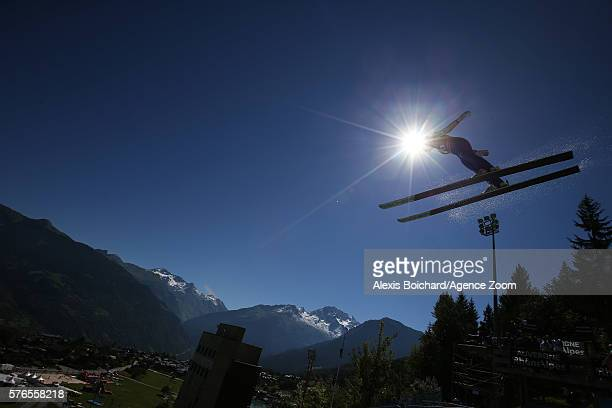 Kaori Iwabuchi of Japan competes during the Finals of the FIS Grand Prix Ski Jumping 2016 on July 16, 2016 in Courchevel, France.