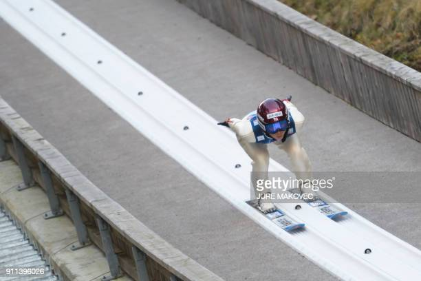 Kaori Iwabuchi of Japan competes during the FIS Ski Jumping World Cup Women's Normal Hill Individual event in Ljubno on January 28 2018 / AFP PHOTO /...