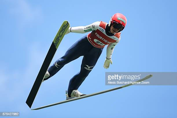 Kaori Iwabuchi of Japan competes during the qualifications of the FIS Grand Prix Ski Jumping 2016 on July 15, 2016 in Courchevel, France.