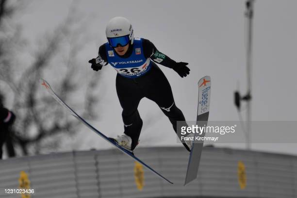 Kaori Iwabuchi of Japan competes during the Women's HS 90 at the Viessmann FIS Ski Jumping World Cup Hinzenbach at on February 7, 2021 in Eferding,...