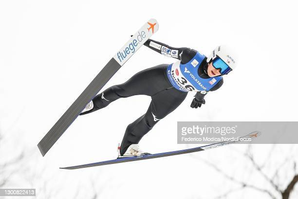 Kaori Iwabuchi of Japan competes during the Women's HS 90 at the Viessmann FIS Ski Jumping World Cup Hinzenbach on February 7, 2021 in Eferding,...