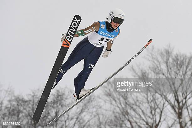 Kaori Iwabuchi of Japan competes in Ladies' HS106 during the FIS Ski Jumping World Cup Ladies 2017 In Zao at Zao Jump Stadium on January 21, 2017 in...