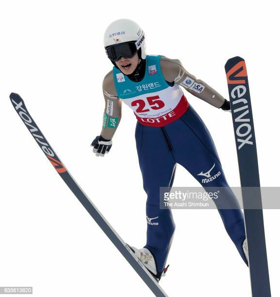 Kaori Iwabuchi of Japan competes in the first jump of the Ladies Normal Hill during day two of the FIS Ski Jumping World Cup PyeongChang at Alpensia...
