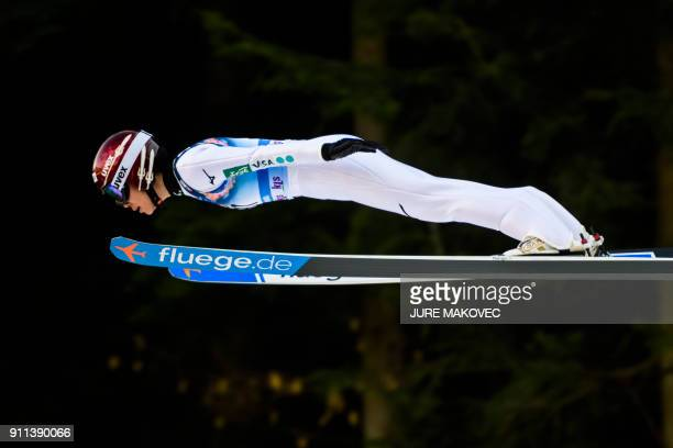 Kaori Iwabuchi of Japan competes in the FIS Ski Jumping World Cup Ladies Normal Hill Individual event in Ljubno on January 28 2018 / AFP PHOTO / Jure...