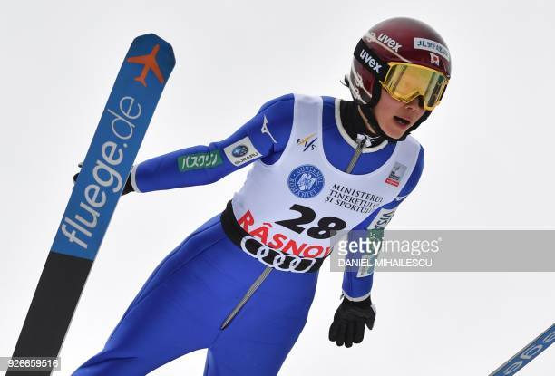Kaori Iwabuchi of Japan competes in the Ladies' FIS World Cup Ski Jumping event in Rasnov Romania on March 3 2018 / AFP PHOTO / Daniel MIHAILESCU