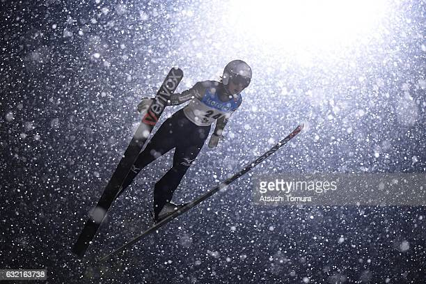 Kaori Iwabuchi of Japan competes in the Ladies' HS106 normal hill individual during the FIS Ski Jumping World Cup Ladies 2017 In Zao at Zao Jump...