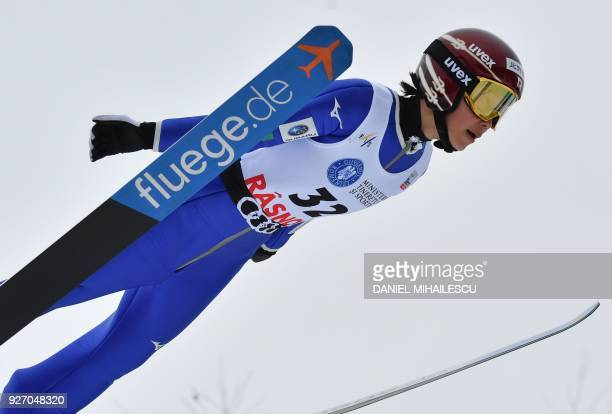 Kaori Iwabuchi of Japan competes in the Ladies' HS97 ski jumping event of the Ladies' FIS World Cup Ski Jumping in Rasnov Romania on March 4 2018 /...
