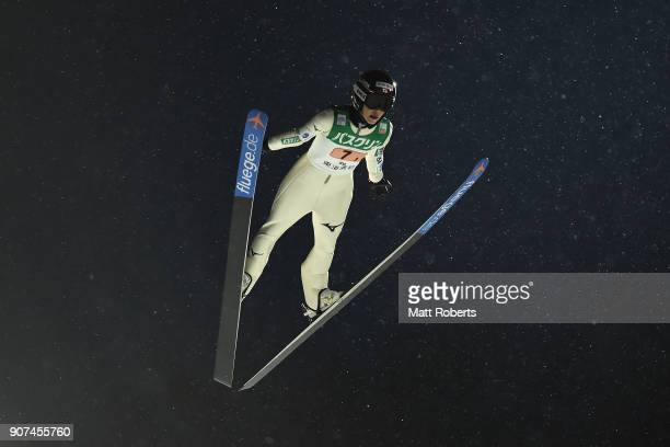 Kaori Iwabuchi of Japan competes in the Normal Hill Team during day three of the FIS Ski Jumping Women's World cup Zao at Kuraray Zao Schanze on...