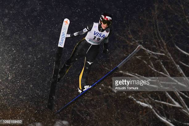 Kaori Iwabuchi of Japan competes on day one of the FIS Ski Jumping World Cup Ladies Sapporo at Okurayama Jump Stadium on January 12, 2019 in Sapporo,...