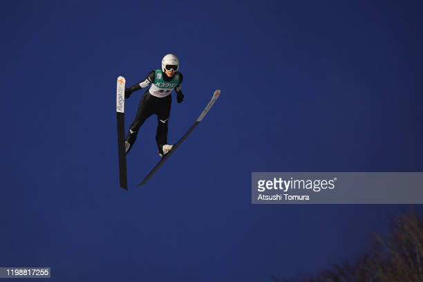 Kaori Iwabuchi of Japan competes on day one of the FIS Ski Jumping Women's World Cup Sapporo at Okurayama Jump Stadium on January 11, 2020 in...