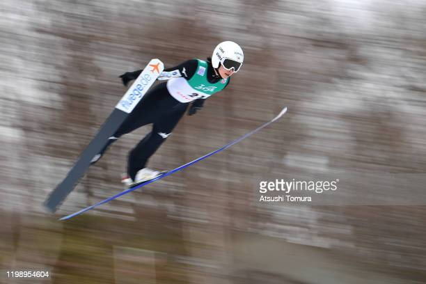 Kaori Iwabuchi of Japan competes on day two of the FIS Ski Jumping Women's World Cup Sapporo at Okurayama Jump Stadium on January 12, 2020 in...