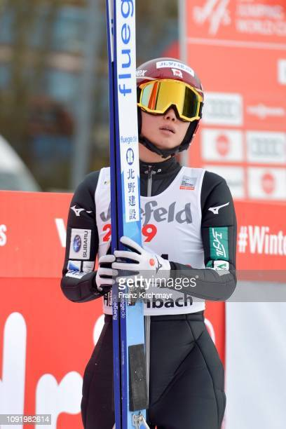 Kaori Iwabuchi of Japan during the Qualification for the FIS Ski Jumping Women's Worldcup at Energie AG Skisprungarena on February 1, 2019 in...