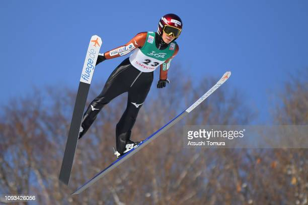 Kaori Iwabuchi of Japan in action on day two of the FIS Ski Jumping World Cup Ladies Sapporo at Okurayama Jump Stadium on January 13, 2019 in...