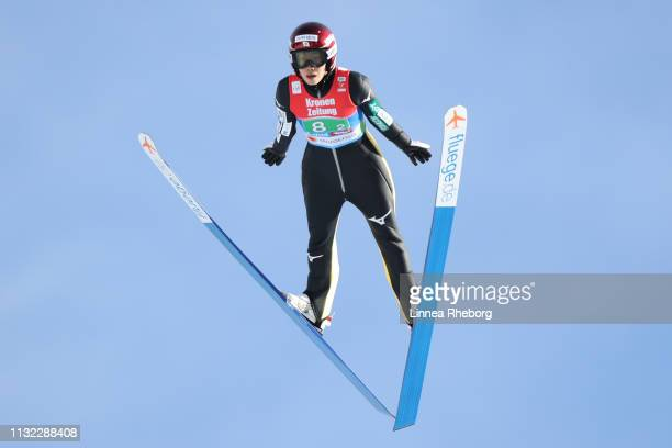 Kaori Iwabuchi of Japan jumps during the trial round of the HS109 women's ski jumping Competition of the FIS Nordic World Ski Championships at Toni...