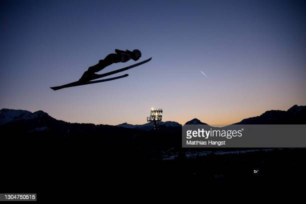 Kaori Iwabuchi of Japan jumps during the Women Large Hill Individual training session at the FIS Nordic World Ski Championships Oberstdorf on March...