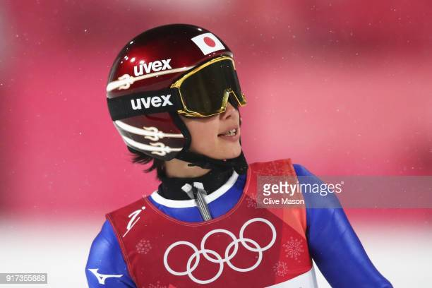 Kaori Iwabuchi of Japan looks on after a jump during the Ladies' Normal Hill Individual Ski Jumping Final on day three of the PyeongChang 2018 Winter...