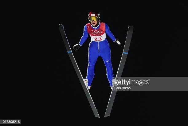 Kaori Iwabuchi of Japan makes a jump during the Ladies' Normal Hill Individual Ski Jumping Final on day three of the PyeongChang 2018 Winter Olympic...