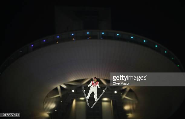 Kaori Iwabuchi of Japan makes a trial jump during the Ladies' Normal Hill Individual Ski Jumping Final on day three of the PyeongChang 2018 Winter...