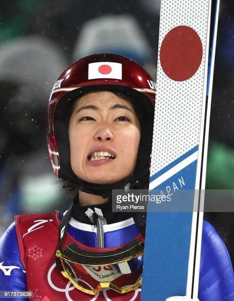 Kaori Iwabuchi of Japan reacts after a jump during the Ladies' Normal Hill Individual Ski Jumping Final on day three of the PyeongChang 2018 Winter...