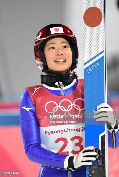 Kaori Iwabuchi of Japan reacts after competing in the first jump during the Ladies' Normal Hill Individual Ski Jumping Final on day three of the...